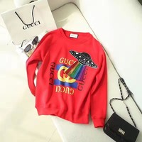 Gucci UFO red letter logo UFO embroidery sweater