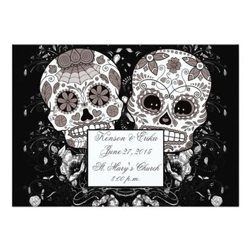 "Day Of The Dead Sugar Skull Wedding Or Party Event 5"" X 7"" Invitation Card"