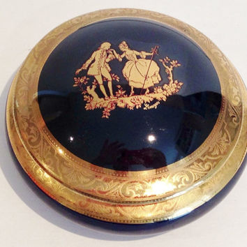Vintage Cobalt and Gold French Limoge Covered Trinket Box