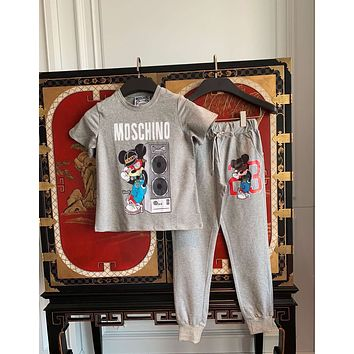MOSCHINO Women Letter Print Short Sleeve Top Pants Two-Piece