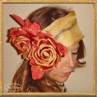 Handmade Deep Gold Italian Sinamay Linen Headwrap with Two Red Sienna Roses with Gold Tips perfect addition to your Fall Wardrobe