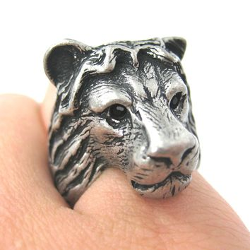 Large Lion Detailed Adjustable Animal Ring in Silver | Animal Jewelry