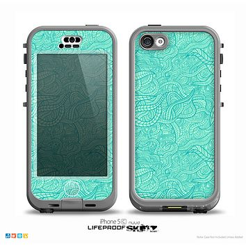 The Teal Leaf Laced Pattern Skin for the iPhone 5c nüüd LifeProof Case