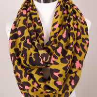 Leopard Print Infinity Scarf - Pink