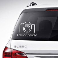 Camera Car Decal Vinyl Lettering Bumper Sticker Laptop Decal photography Camera I shoot people Car Decal
