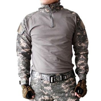 Gen2 Combat Long Sleeve Shirt with Elbow Pads Survival Camouflage ClothesUS Army Uniform Multicam Airsoft Paintball Hunting Tops