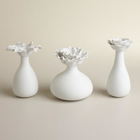 White Bloom Bud Vases, Set of 3 - World Market