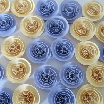 "Gender neutral Baby Shower Table Decorations, Lilac and Ivory Flowers set of 24, Small 1.5"" paper quilling roses, Pastel Purple and cream Wedding decor"