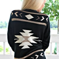 Gold Rush Tribal Cardigan - Black