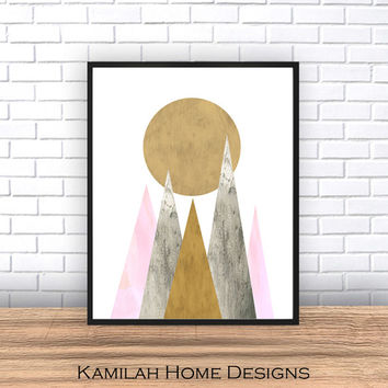 Scandinavian Print, Pink Grey yellow Printable Art, Mid Century, Minimalist Art, Modern Wall Art, Wall Decor, Digital Download