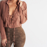 FASHION SOLID COLOR LACE UP LAPEL SHIRT