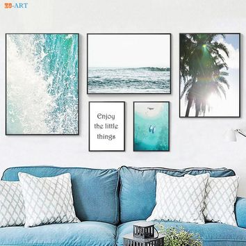 Nordic Ocean Landscape Canvas Painting Poster and Print Leaves Quotes Wall Art Canvas Prints Coastal Decor Home Decoration