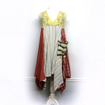 Bohemian Clothing, Bohemian Dress, Boho Chic Dress, Patchwork Clothing, Funky Clothing, Upcycled Clothing for Women by Primitive Fringe