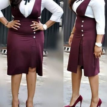 New Purple Buttons Bow Two Piece Long Sleeve Party Elegant Overall Midi Dress