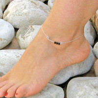 Black Onyx Ankle Bracelet, Bar Stone Anklet, 925 Sterling Silver, Black Onyx Anklet, Beach Foot Jewelry, Summer Jewelry, Gift Under 25