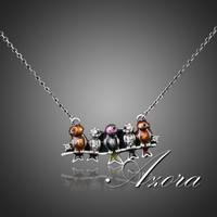 Silver Plated Five Birds Pendant Necklace