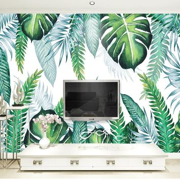 Custom Photo Wall Paper Modern Simple 3D Tropical Plant Leaves Mural Wallpaper Living Room Restaurant Backdrop Wall Painting 3 D