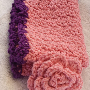 Rose  Colored Large Washcloth and Rose Scrubbie - crochet bath set - washcloth set - stocking stuffer for her - bath lover gift
