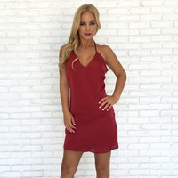 Sweet Remedy Dress In Burgundy