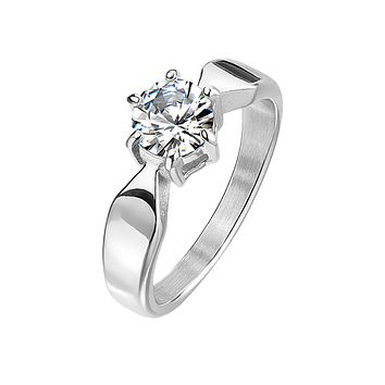 Crazy For You - A Dazzling Stainless Steel Engagement Ring With A Cubic Zirconia 1.3 CT. Eq. Stone