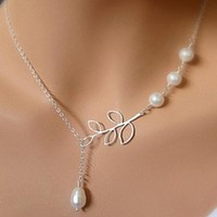 Fashion European Handmade Silver Color Hollow Leaf Simulated Pearl Beads Choker Necklaces Women Jewelry