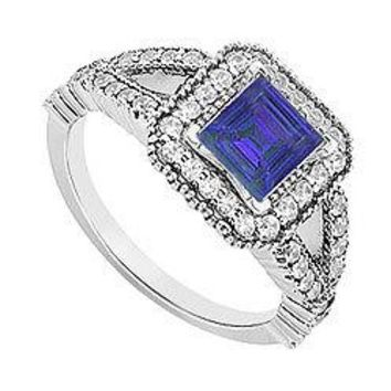 14K White Gold Princess Cut Sapphire & Diamond Engagement Ring 0.75 CT TGW