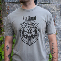 No Good. Can't hear you. Men's Labyrinth door knocker t-shirt in Warm Gray or Light Gray