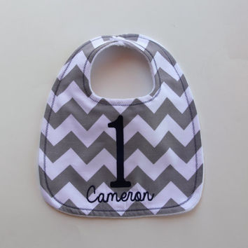 Chevron Birthday Bib With Name, First Birthday Bib, Chevron Stripe Bib, Minky Bib, Custom Bib
