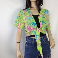 Vintage Hawaiian Shirt Waist Tie Waist Lime Green Neon Hot Pink Fuschia Tropical Print with Abstract Print Florals  Summer Shirt Beach Shirt