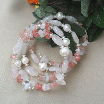 Rose Quartz with Freshwater Pearls Coil - wrap Memory wire Bracelet