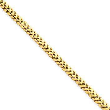 2.5mm, 14k Yellow Gold, Solid Franco Chain Necklace, 24 Inch