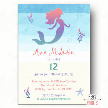 Printable Mermaid Birthday Invitation // Under the Sea Birthday Invitation // Mermaid Invitation Birthday // Watercolor Mermaid Invitations