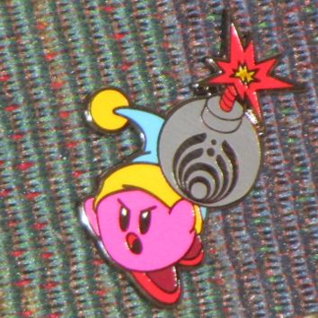 Bass Head Kirby Video Gamer Bomb the Blocks EDM Dubstep Festival Tour Hat Pin