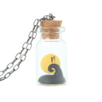 The Nightmare Before Christmas Jack & Sally In A Bottle Necklace