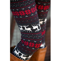 Fashion Christmas Deer Print Knitting Leggings - ONE SIZE