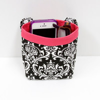 PHONE CAR CADDY, iPhone Case, Black and White Damask, Sunglass Car Caddy, Cell Phone Holder, Sunglass Case