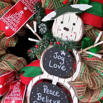 Christmas Snowman Wreath Snowman Chalkboard Decor Christmas Wreath Front Door Christmas Wreath Snowman Wreath Red Christmas Frosty Snowman