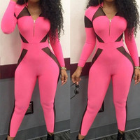 Womens Sexy Pink Slim Casual Jumpsuit