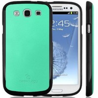 Galaxy S3 case, Caseology® [Matte Hybrid] [Turquoise Mint] Premium PU Leather Cover [Shock Absorbent TPU] Samsung Galaxy S3 case