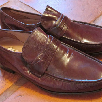 BIG SALE Vintage Brown Leather Hipster Loafers Men's Stafford Dress Shoes Sz 12 Made USA
