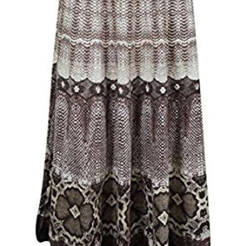 Mogul Womens Medieval Skirts Brown Printed A-line Tiered Flare Bohemian Sexy Long Skirts