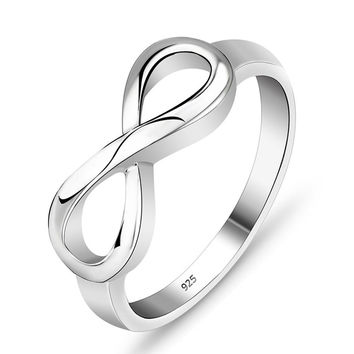 Eternity Ring Charms Best Friend Gift  925 Sterling Silver Infinity Ring Endless Love Symbol Fashion Rings For Women #SI1137