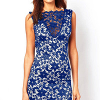 Dark Blue Sleeveless Lace Dress with Deep-V Back