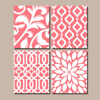 CORAL Bedroom Wall Art, Trellis Pattern Swirl Design, Canvas or Print, BATHROOM Artwork, Nursery Pictures, Flower Burst, Home Decor,Set of 4