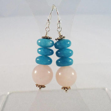 Pink Aventurine and Blue Quartz Earrings, Gemstone Earrings in Blue and Pink,Dangle Earrings