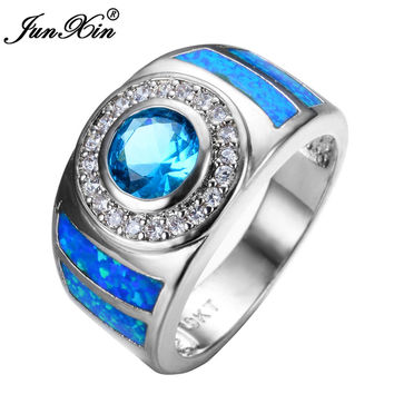 JUNXIN New Sale Men Women Round Blue Opal Ring White Gold Filled Fashion Jewelry Promise Engagement Rings Gifts RP0001