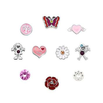 CharmsStory 10 Pcs Flower Floating Charms For Glass Living Memory Lockets Necklace amp Bracelets
