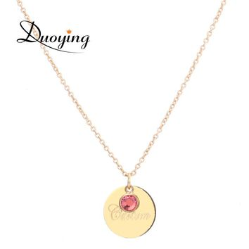 DUOYING 13 mm Disc Necklaces Custom Name Initial Laser Engraved Necklaces Birthstone Pendants Necklaces for Etsy Birthday Gifts