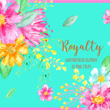 Watercolor Clipart Royalty - purple flowers, yellow flowers, gold  flowers, berries and decorative elements for instant download