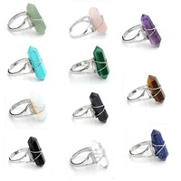 JOVIVI Jewelry Gemstone Hexagon Beads Healing Point Chakra Good luck Finger Ring --Adjustable Size (Rock Crystal Quartz)